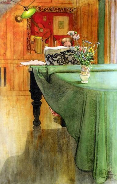 Carl Larsson Brita Vid Pianot Brita at the Piano 1908